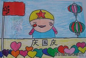 幼儿园大班美术作品:国庆节的天安门(国庆图画)图片
