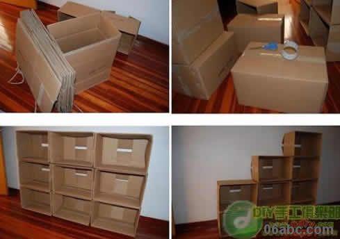 用废旧纸箱做成的儿童玩具柜