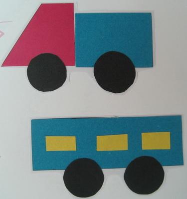 汽车(拼贴画)   小班美术教案; 引导幼儿自主地选择图形组合拼成不同