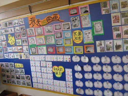 幼儿园大班主题墙环境布置 秋天的图画