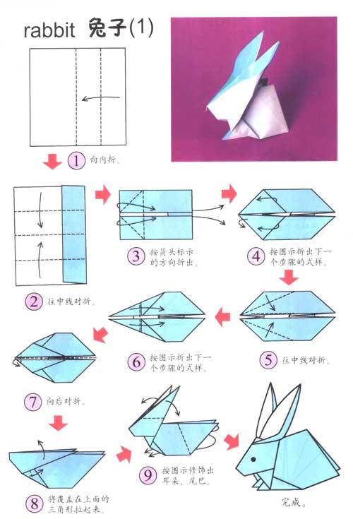 幼儿园大班手工折纸:兔子(1)