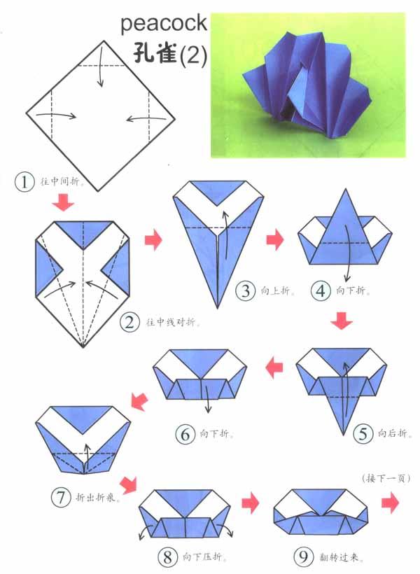 幼儿园大班手工折纸:孔雀2图片