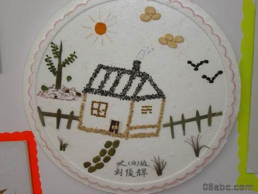 丰收的秋天-种子粘贴画-幼儿园环境布置 秋天墙面布置