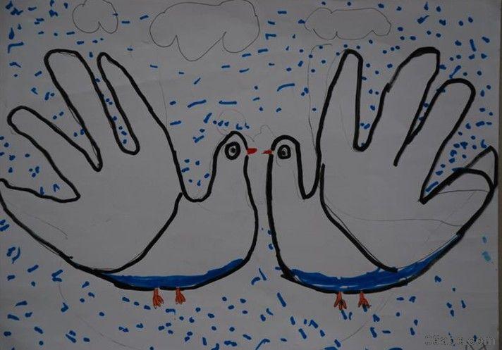 大班美术绘画作品:有趣的手形画