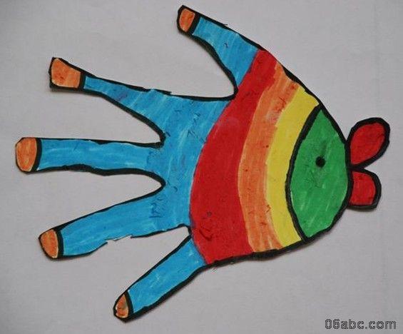 大班美术绘画作品:有趣的手形画-绘画-图片- 资源下载图片