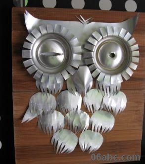 易拉罐做的猫头鹰; 幼儿园手工制作图:可爱的