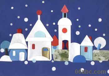 幼儿园手工折纸贴画:美丽的房子