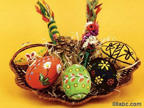 可爱的鸡蛋壳废旧物利用装饰画-复活节