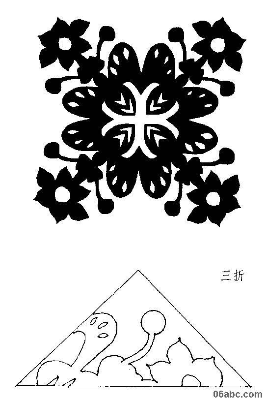 小学剪纸教程图解五瓣花