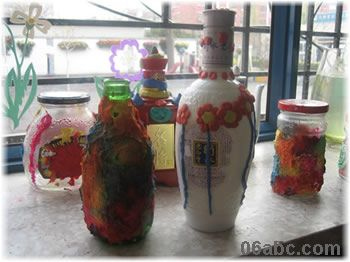 彩色纸浆覆各类玻璃瓶 装饰用图片