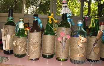 细麻绳装饰的酒瓶 可以插花图片