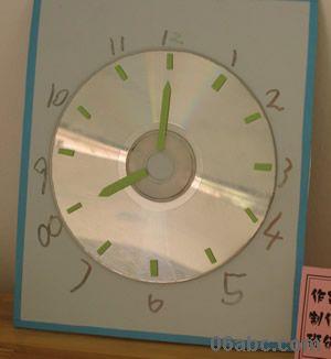 废旧物光盘创意制作:钟表 小动物等