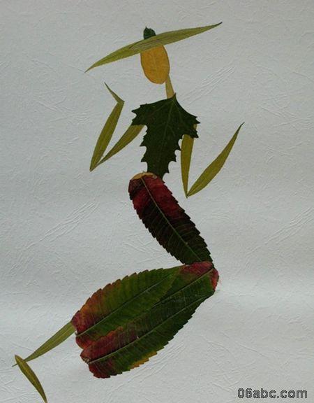 搜集了一些树叶贴画的作品