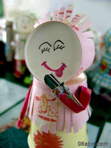 漂亮妹妹(纸杯娃娃)——废旧物品手工制作