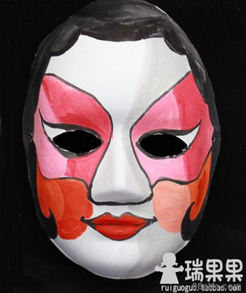 手绘纸浆彩绘京剧脸谱面具批发/白面具涂色舞会瑞果果diy美术材料
