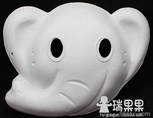 大象白色面具/化妆舞会手绘面具纸浆面具/瑞果果diy美