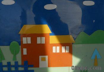 创意拼摆图形图片房子