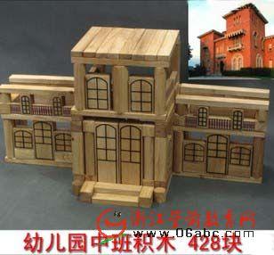 堆塔游戏 428块中班 幼儿园玩具大型积木拼插建构区实木玩