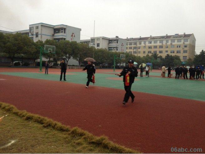 合保安全 绍兴大唐镇中心学校开展保安人员灭火比赛