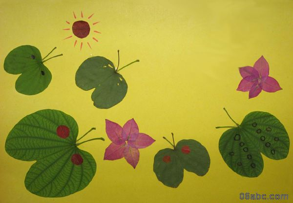 搜集了一些树叶贴画的作品 - 手工 - 图片 - 资源下载