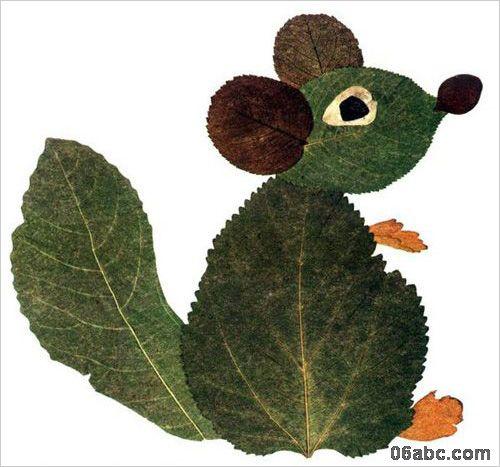 搜集了一些树叶贴画的作品-手工-图片- 资源下载