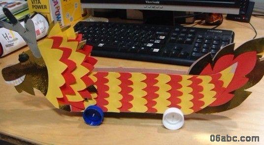 幼儿园环保手工制作: 小龙舟