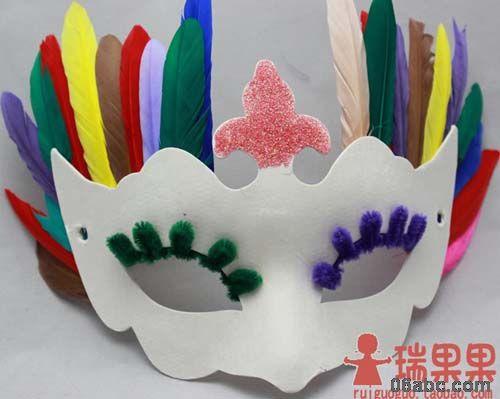 彩色羽毛/装饰面具/幼儿园diy美劳手工制作粘贴材料