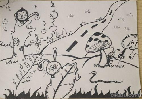 风车少儿水粉画作品- 全园教师开展儿童画大赛