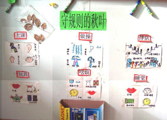 幼儿园秋天主题墙饰:守规则的秋叶