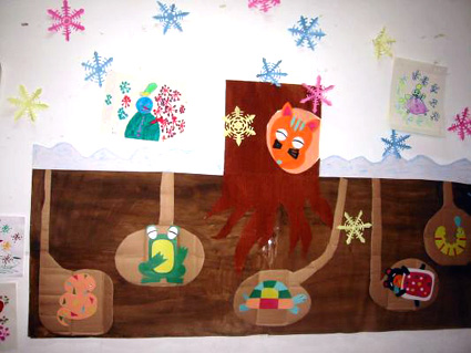 幼儿园冬天主题墙饰:你知道动物怎么过冬?