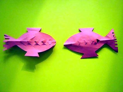 幼儿教师手工制作:纸工鱼