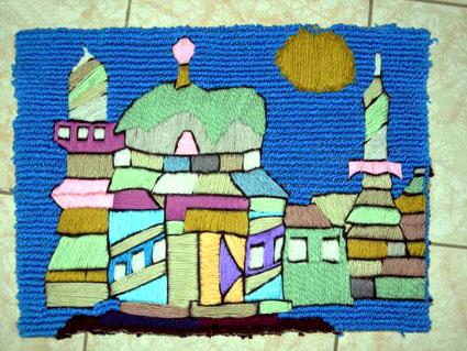 毛线/幼儿园自制玩教具:毛线贴画/ 手工/ 图片