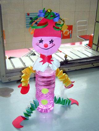 幼儿教师手工制作 : 塑料 小丑; 幼儿园玩教具制作; 可爱的小丑