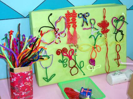 幼儿园自制玩教具:毛线画图片