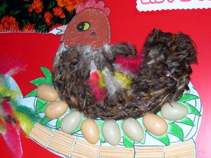 幼儿园手工制作:鸡妈妈孵蛋