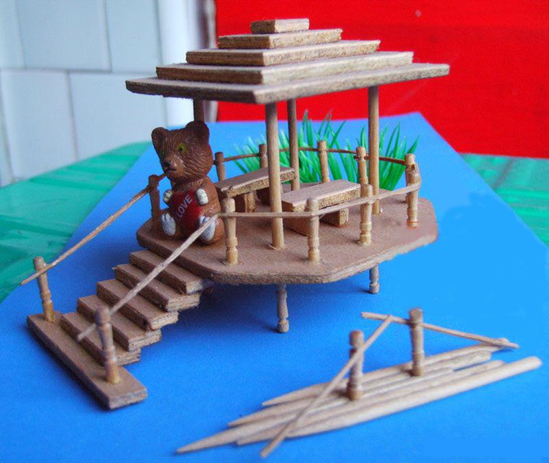 幼儿园玩教具制作:牙签亭子