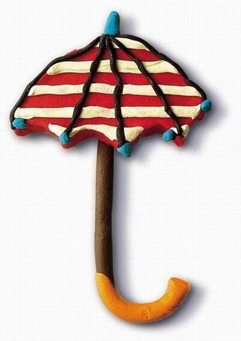 幼儿园手工制作:橡皮泥雨伞