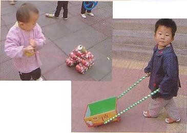 幼儿园小中班手工制作:易拉罐体育器械8