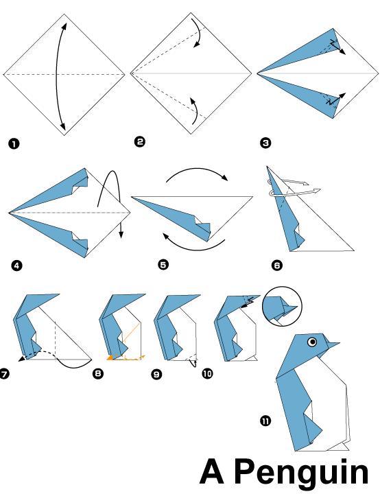 幼儿园手工制作:企鹅折纸