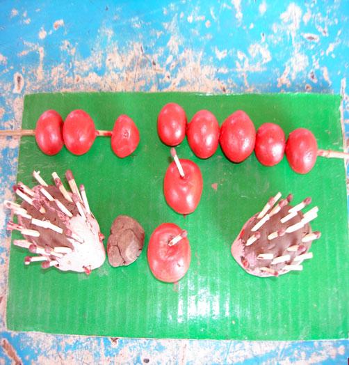 幼儿园手工制作:橡皮泥刺猬