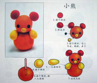幼儿园手工制作:橡皮泥小熊