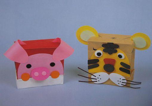 大班 自制玩具;; 幼儿纸制品制作:幼儿教师玩教具制作:小猪和老虎