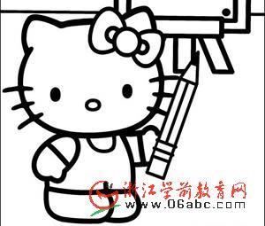 Hello Kitty 幼儿填色图