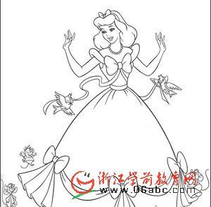 童话故事灰姑娘填色图下载