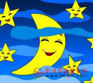 月亮和星星卡通画_七月亮;