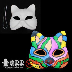 舞会面具狐狸动物头饰白模填色绘画/瑞果果幼儿园